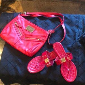 Cole Haan leather sandals (8) & Nicole Miller bag